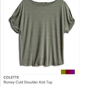 Colette Olive Cold Shoulder Top